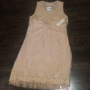 NWT peach lace overlay midi dress